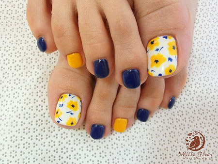 Fake Toe Nail Design, Nail Toe Blue Yellow