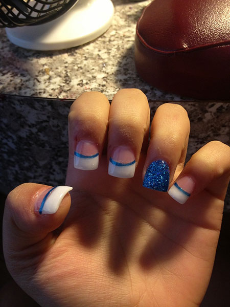 Nail Blue White Acrylic
