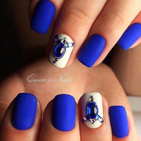 30 Blue And White Nails