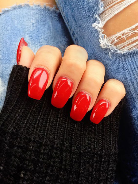 Red Polish Manicure Nails