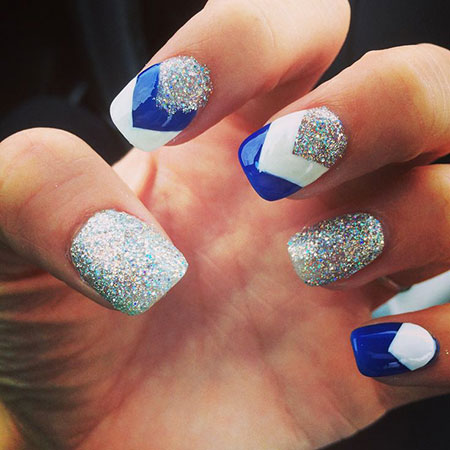 Blue and White Chic Nail Colors, School Colors Nails Blue