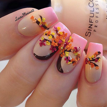 Nail Leaves Painted Manicure