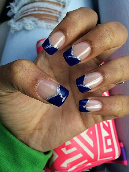 Nail Blue Navy Silver