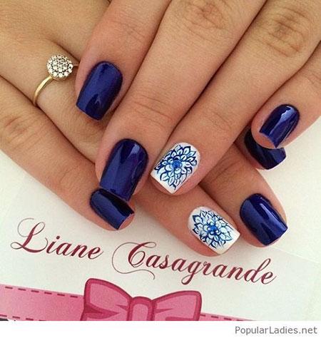 Blue Nails Nail White