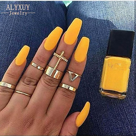 Nails Yellow Nail Ring