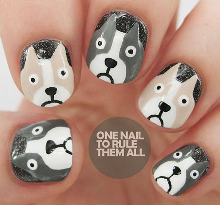 Nail Dog Halloween Designs