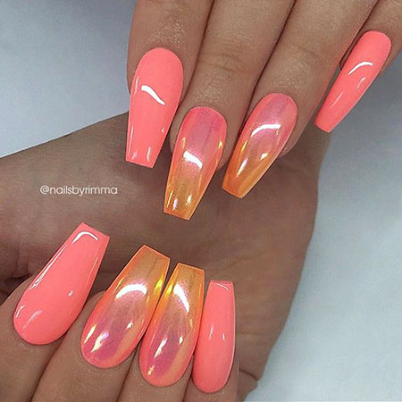 Coffin Pink Coral Nails, Nail Nails Coffin Pink