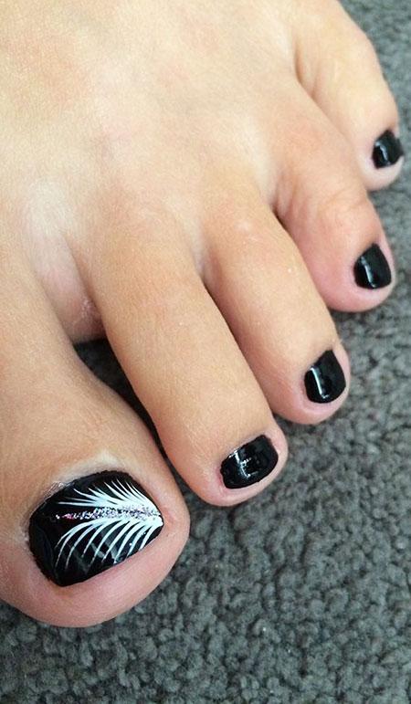 Black and White, Nail Toe Nails Black