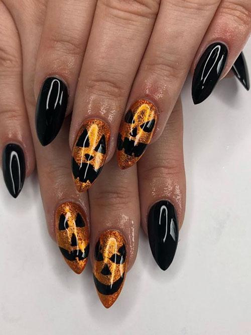 Halloween Cat Nail Designs
