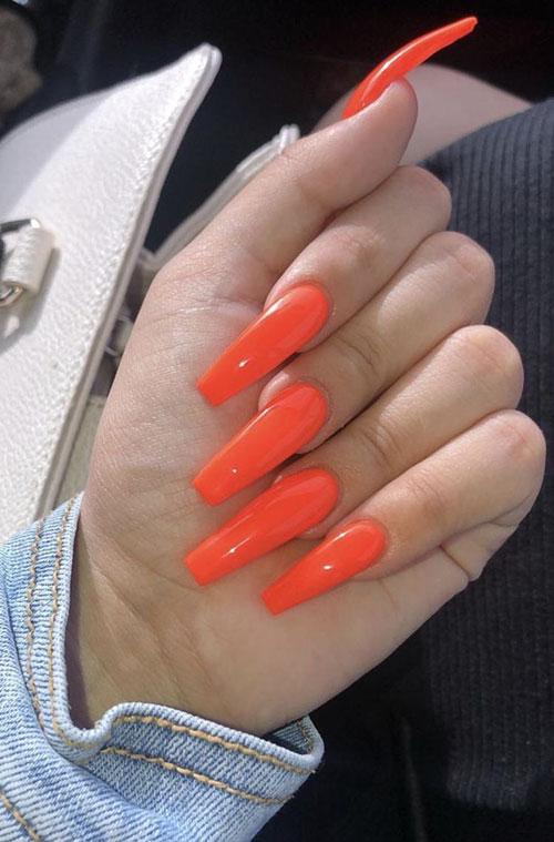 Acrylic Orange Nails