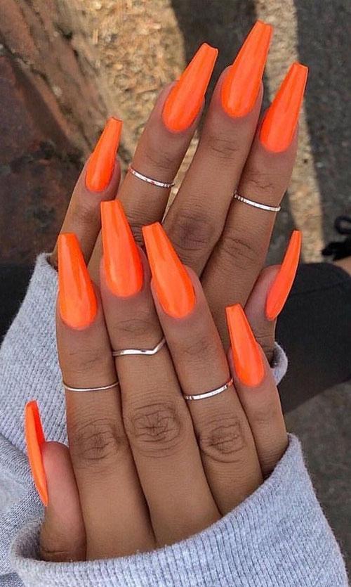 Orange Nails Acrylic