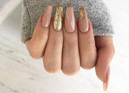 Acrylic Nails With Gold Flakes