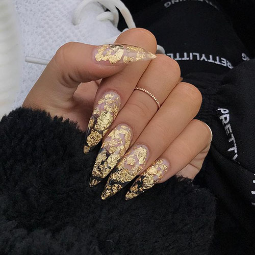 Gold Leaf Acrylic Nails