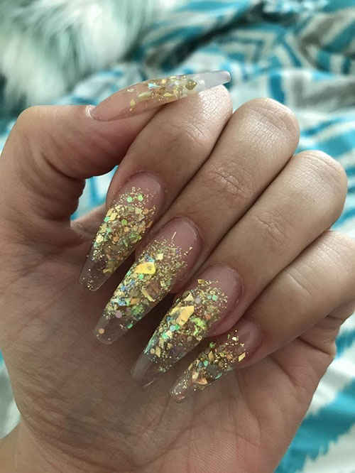 Acrylic Nails Gold