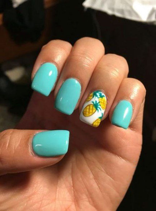 Teal Acrylic Nails