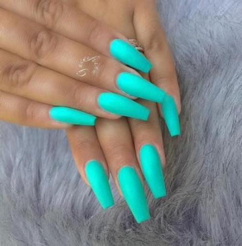 Acrylic Teal Nails
