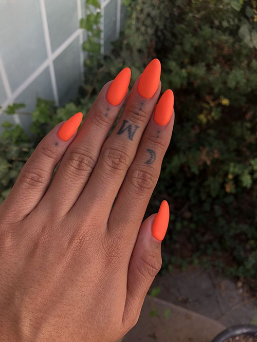 Orange False Nails